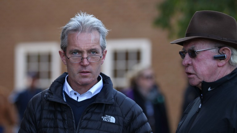 Tim Hyde jnr (left) with his father, Tim Hyde snr, on the grounds at Tattersalls