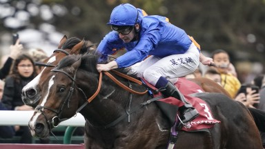 PARIS, FRANCE - OCTOBER 07:  Oisin Murphy riding Royal Marine (blue) win The Qatar Prix Jean-luc Lagardere from Broome and Ryan Moore (farside) during the Grand Prix de l'Arc de Triomphe at Hippodrome de Longchamp on October 7, 2018 in Paris, France. (Pho