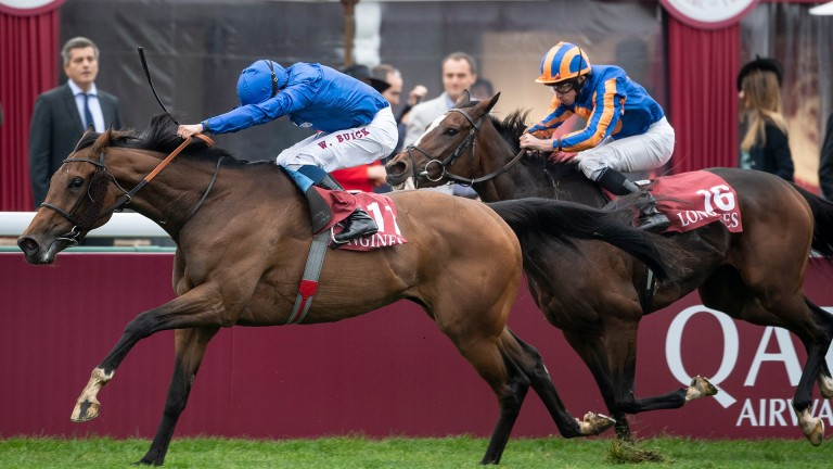 Wild Illusion fights off the attentions of Magic Wand at Longchamp