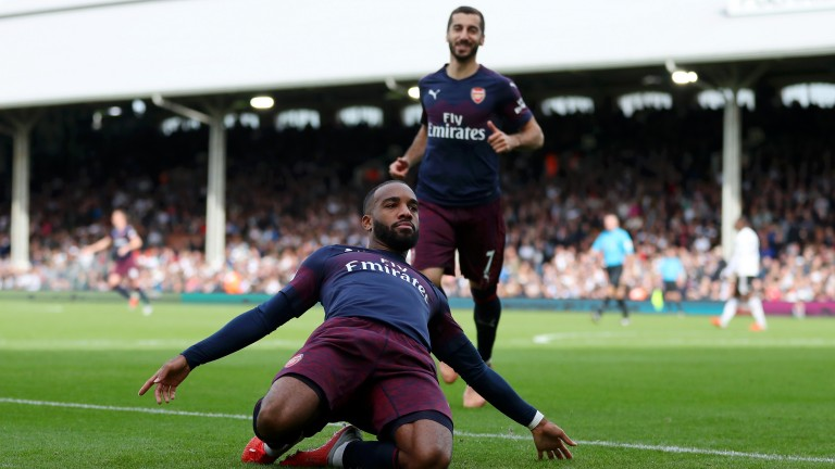 Alexandre Lacazette celebrates scoring Arsenal's second goal at Fulham