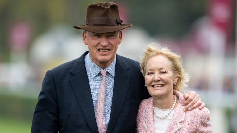 John Gosden and his wife Rachel Hood after Enable had won the Arc