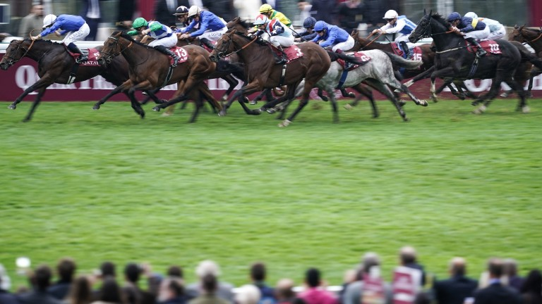 One Master and Pierre-Charles Boudot (green sleeves and cap) run down Inns Of Court to score a 48-1 surprise in the Prix de la Foret