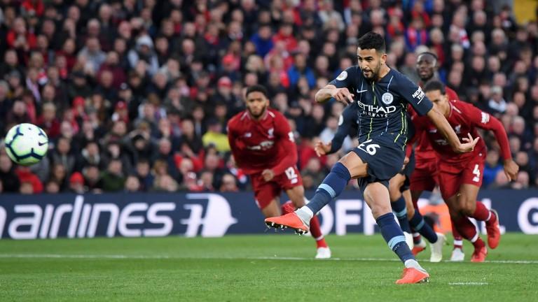Riyad Mahrez blazes Manchester City's penalty over the bar