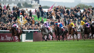 Enable (left): leads with a furlong to run on the way to a narrow second Arc win over Sea Of Class (yellow silks)