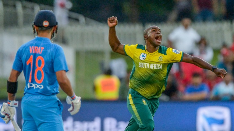 Junior Dala celebrates the wicket of Virat Kohli in February's Twenty20 series