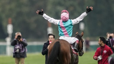 Frankie Dettori celebrates Enable's Arc triumph