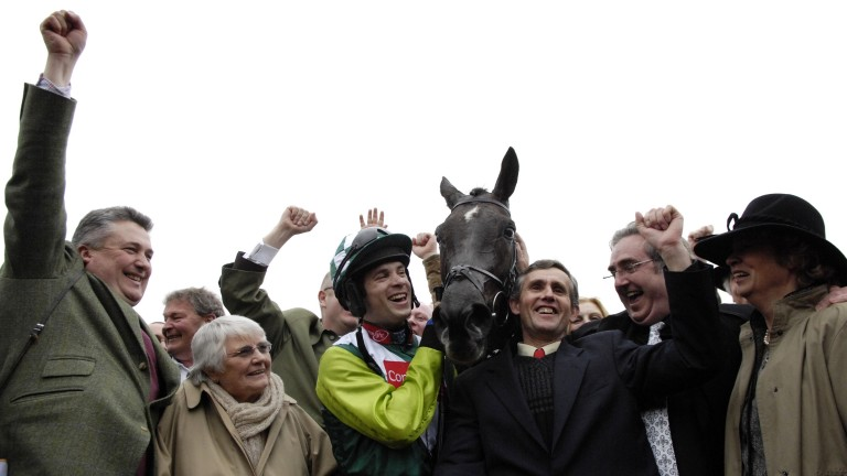 Margaret Findlay (second left) celebrates with fellow connections after Denman's Gold Cup success
