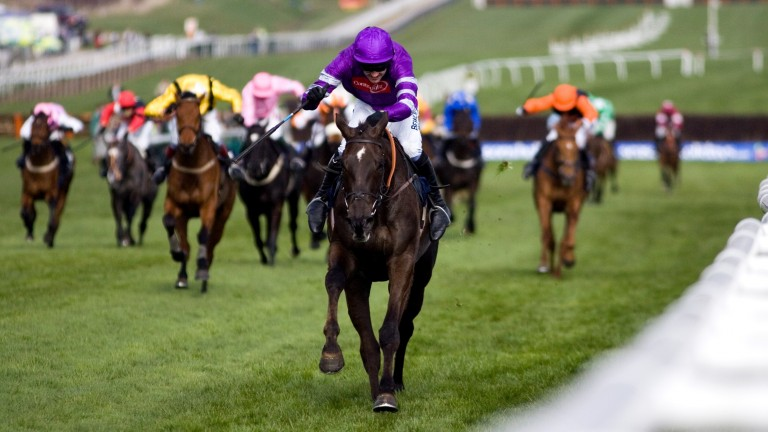 Denman powers home under Ruby Walsh in the 2007 Royal & SunAlliance Chase in Margaret Findlay's purple silks
