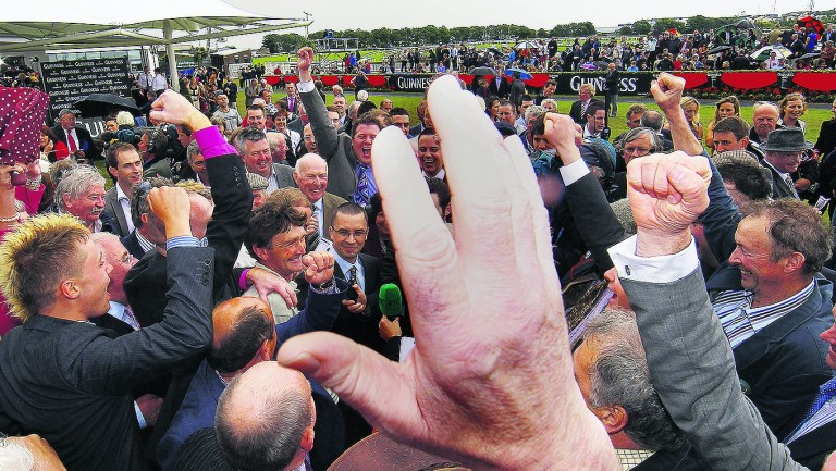 Missunited's trainer Michael Winters the centre of attention in the Galway parade ring