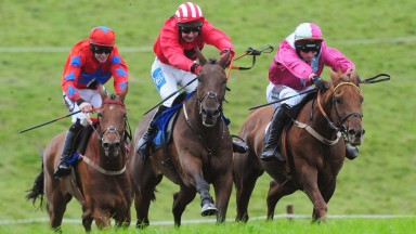 Castletown-Geoghegan PTP 7-10-18 MAJOR DAVID & Anthony Fox (centre) win the Older Horses Maiden Race from KIERA ROYALE & Jamie Codd (right)(Photo Healy Racing)