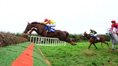 Castletown-Geoghegan PTP 7-10-18 SHAWSHANK & Barry O'Neill jump the last to win the 5&6yo Geldings Maiden Race(Photo Healy Racing)
