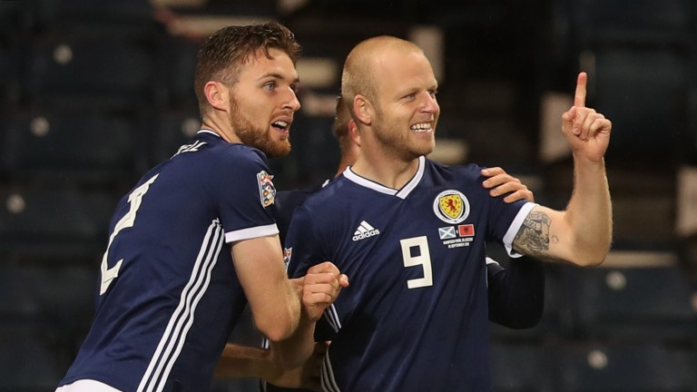 Steven Naismith (right) could be celebrating for Scotland in Israel