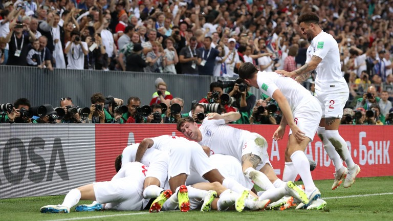 England celebrate Kieran Tripier's wonder strike against Croatia in the World Cup semi-finals