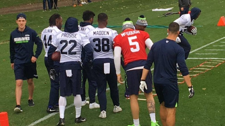 The Seahawks practice at their training camp in Watford on Thursday