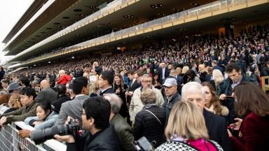 The jam packed grandstand before the Prix De L'Arc de TriompheLongchamp 7.10.18 Pic: Edward Whitaker