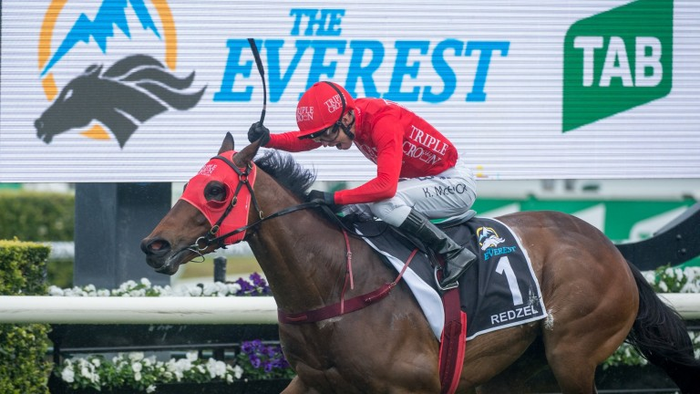 Redzel wins a second successive Everest under Kerrin McEvoy at Randwick, 13/10/2018