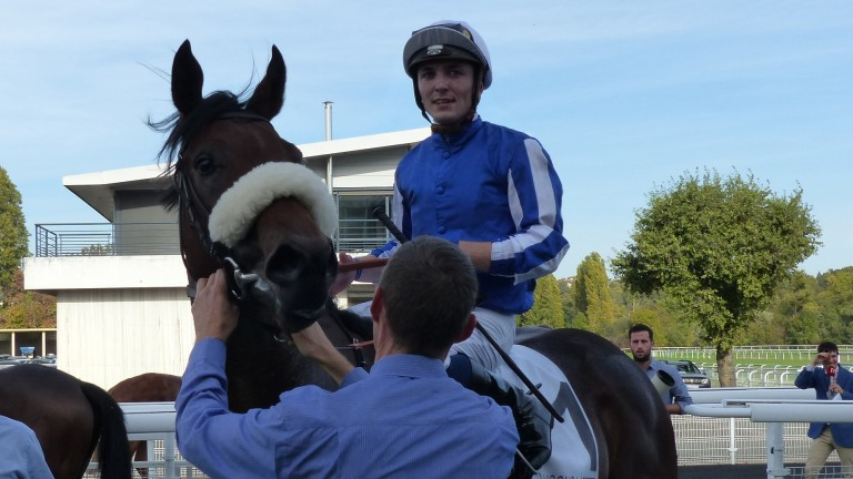 Kevin Stott and Hello Youmzain after winning the Group 2 Criterium de Maisons-Laffitte