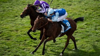 Persian King and (Pierre-Charles Boudot,right) win the Autumn Stakes