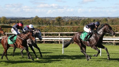 Navan Sun 14 October 2018All The King's Men ridden by Seamus Heffernan, right, winning The Irish Stallion Farms EBF Legacy Stakes from Recon Mission ridden by Leigh Roche, 2nd, red cap with navy star.photo: carolinenorris.ie