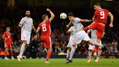 Sam Vokes scores Wales's consolation goal in their 4-1 home defeat to Spain