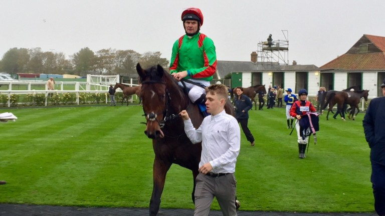 Azano (Robert Havlin) after winning the 7f novice stakes at Yarmouth in October