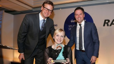 Petra  Sebestikova Senior work rider for Luca Cumani winner of Rider/Groom Award presented by Ed Chamberlin and Michael Owen Pic Dan Abraham-focusonracing.comGodolphin Stud and Stable Staff Awards 19.2.18