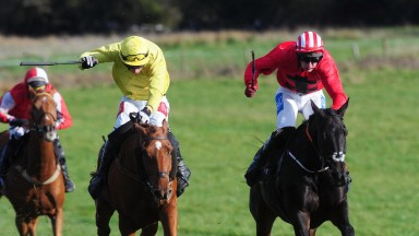 Sliabh Mhuire Lass and Derek O'Connor (yellow) win the 4yo+ Open race at Loghrea on Sunday. Report page 5