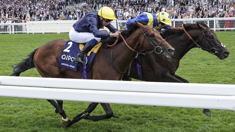 William Buick and Crystal Ocean (left) just lose out to Poet's Word at Ascot in July. (Photo by Alan Crowhurst/Getty Images)