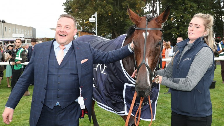 John Dance (left) after Laurens' victory in the Matron Stakes