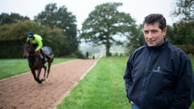 Ian Williams , trainer of Melbourne Cup hope Magic Circle, pictured on his gallops at Dominion Racing StablesAlvechurch 15.10.18 Pic: Edward Whitaker