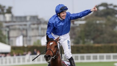 Pat Cosgrave celebrates winning the Caulfield Cup on Best Solution