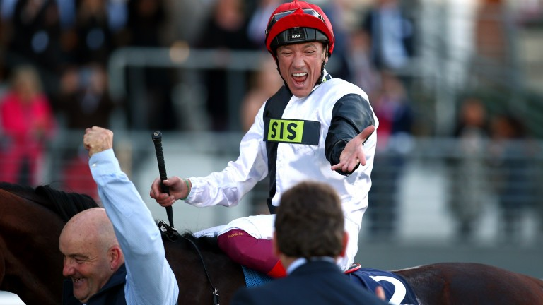 ASCOT, ENGLAND - OCTOBER 20: Frankie Dettori celebrates after he rides clear on Cracksman to win The QIPCO Champion Stakes during QIPCO British Champions Day at Ascot Racecourse on October 20, 2018 in Ascot, England. (Photo by Charlie Crowhurst/Getty Imag