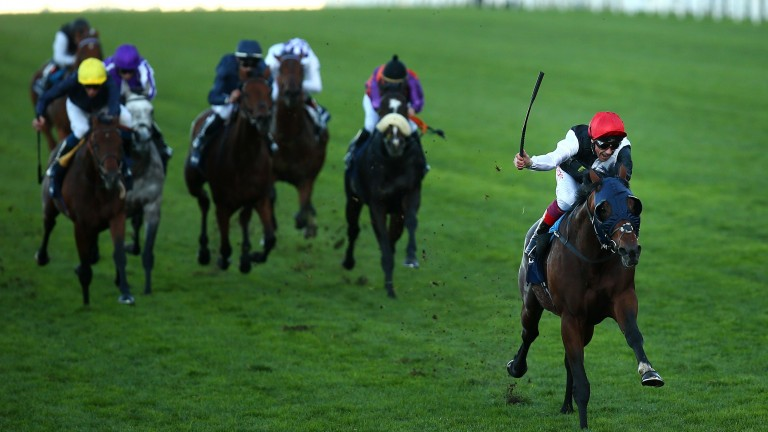 ASCOT, ENGLAND - OCTOBER 20: Frankie Dettori rides clear on Cracksman to win The QIPCO Champion Stakes during QIPCO British Champions Day at Ascot Racecourse on October 20, 2018 in Ascot, England. (Photo by Charlie Crowhurst/Getty Images)