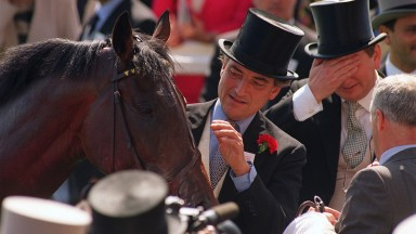 Luca Cumani Trainer June 1998 with High Rise Racehorse in the winners enclosure after winning the Derby 1998 Mirrorpix
