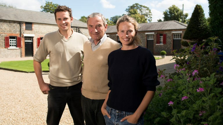 Luca Cumani with his children Matt and Francesca at his Bedford House Stables