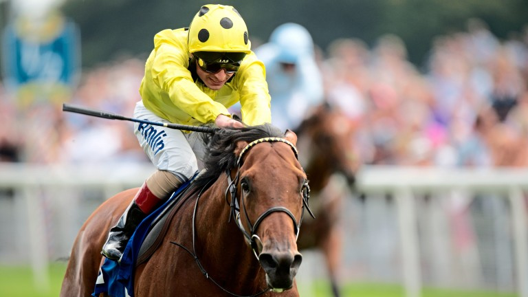 Postponed and Andrea Atzeni win the Great Voltigeur Stakes