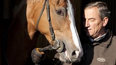 Newmarket 20.4.10 Pic:Edward WhitakerLuca Cumani and Seta at Bedford Lodge stables