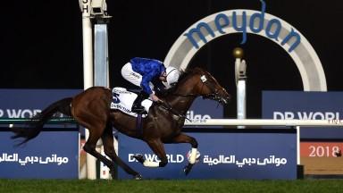 DUBAI, UNITED ARAB EMIRATES - MARCH 31: Oisin Murphy riding Benbatl wins Dubai Turf race during the Dubai World Cup Race Day at Meydan Racecourse on March 31, 2018 in Dubai, United Arab Emirates.  (Photo by Tom Dulat/Getty Images)