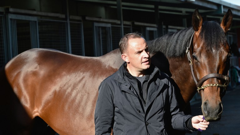 Trainer Chris Waller with Winx