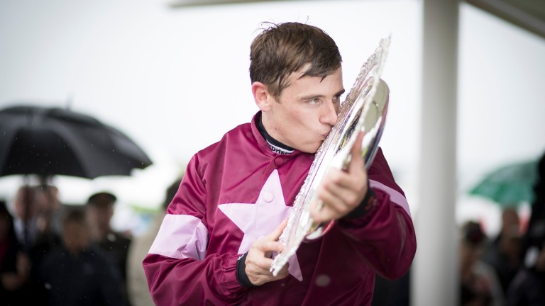 Mark Enright with the Galway Plate following his 33-1 victory on Clarcam