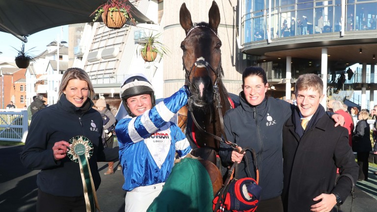 Frodon and Bryony Frost with winning connections in the Aintree winner's enclosure