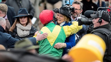 Jessica Harrington and Robbie Power will be hoping that these scenes after Sizing John's Gold Cup victory in 2017 can be repeated next March