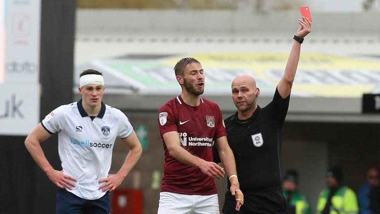 Northampton?s Sam Foley was sent off against Oldham last weekend
