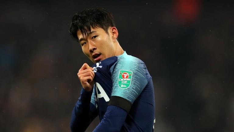 Heung-Min Son of Tottenham Hotspur celebrates against West Ham