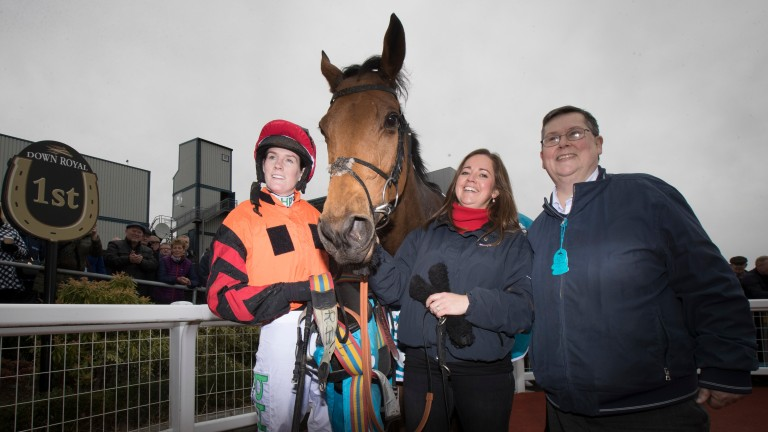 Rachael Blackmore, Nicola Jardine and Andrew Cork with Bedrock after their Grade 2 success