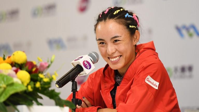 Qiang Wang enjoys her post semi-final press conference