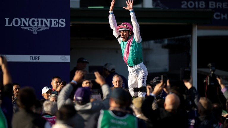Frankie Dettori performs his flying dismount after victory on Enable at Churchill Downs