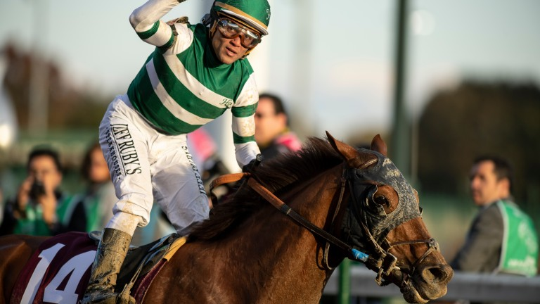 Joel Rosario punches the air after his Classic success aboard Accelerate