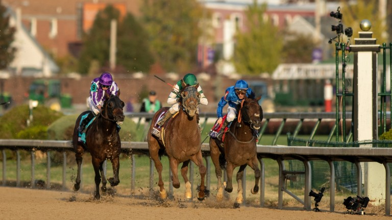 Christophe Soumillon (far right) recently came under fire for his ride on Thunder Snow in the Breeders' Cup Classic