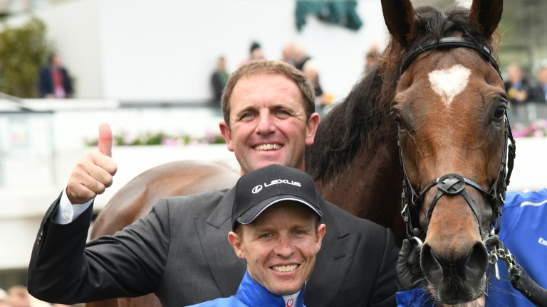 Kerrin McEvoy and trainer Charlie Appleby pose with Cross Counter after winning the Lexus Melbourne Cup